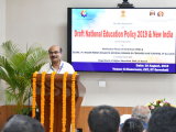 """Dr. Bibhash Chandra Das Purkayastha, Vice President, Bharatiya Shikshan Mandal delivering his speech on the topic """"New Education Policy and its philosophy"""""""